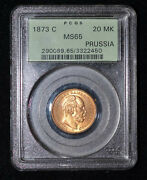 Pcgs Ms65 1873-c Germany Prussia 20 Marks Gold Coin