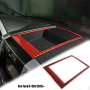 Red Carbon Console Dashboard Storage Box Frame Cover Trim For Ford F-150 2015+