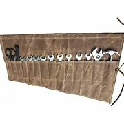 Waxed Canvas Wrench Roll Up Organizer Tool Bag With 14 Pockets Waterproof