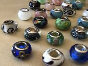 Lot Of 37 Sterling Silver 925 European Murano Glass Lamp Work Bead Charm Lot