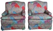 2 Vintage Mid Century Paisley Upholstered Club Arm Chairs Lounge Reading Accent