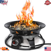 Gas Fire Pit Propane Firebowl Outdoor Portable Bowl With Cover Garden Yard Table