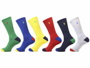 Polo Menand039s Sport Crew Socks 6-pairs Green/red/blue 10-13 Fit 6-12.5