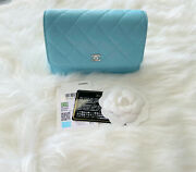21s Light Blue Lambskin Mini Wallet On Chain. New With Tags