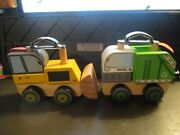 2 D' Adore Paris Wooden Trucks Bulldozer And Garbage Truck Push Toy