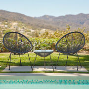 3-piece Acapulco Patio Bistro Set W/ Pe Rattan 2 Chairs And 1 Table 3 Colors