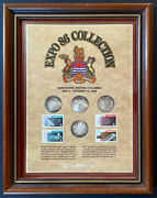 Expo 86 Vancouver British Columbia .999 Silver Coin And Canada Post Stamp Set