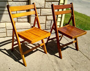 2 Antique Vintage Mid Century Folding Wood Slat Chairs Made In Poland