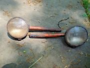 2 Vintage Guide Headlights Tractor Lens Bullet Style Car Truck Ratrod