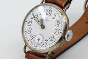 Very Early Omega Fixed Lug Military Trench Watch 1917 Silver