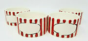 Vintage Set Of 4 Mudpie Red And White Candy Cane Striped Ramekin Dishes