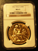 Peru 1967 Gold 100 Soles Ngc Ms63 Seated Liberty