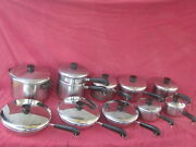 Vintage Revere Ware Stainless Steel Copper Bottom Cookware Set
