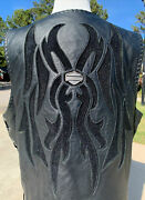 Rare Harley Davidson Menandrsquos Custom Collection Leather Vest Xl 1 Of 150 Tribal