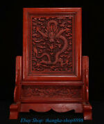 17old Marked China Dynasty Wood Lacquerware Fengshui Dragon Screen Shelf