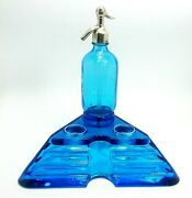 Antique Inkwell In Blue Glass W/siphon Design W/advertising 30andacutes Cm1