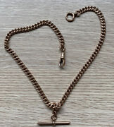 9ct Antique Rose Gold Double Albert Watch Chain T Bar Necklace