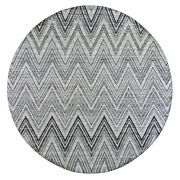 9and0397x9and0397 Gray Chevron Design Textured Wool And Silk Hand Knotted Round Rug R66694