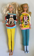 Vintage Barbie Dolls With Disney Mickey Minnie Mouse Oversized Sweaters Outfits