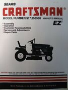 Sears Craftsman 6-spd 19hp Lawn Tractor And Mower Owner And Parts Manual 917.258560