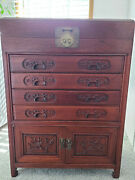 Vintage Wood Carved Standing Oriental Silverware Chest Cabinet Antique
