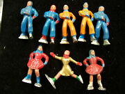Vintage Collection Of 8 Lead Ice Skaters C.1950's-5 Men And 3 Women