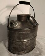 Vintage Metal Oval Coal Miners Rr Lunch Dinner Box Pail Bucket
