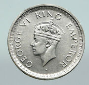 1943l India States Uk King George Vi Antique Silver 1/2 Rupee Indian Coin I91266