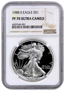1988-s Proof American Silver Eagle One Dollar Coin Ngc Pf70 Ultra Cameo