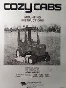 Cozy Cab For John Deere 318 420 430 Lawn Garden Tractor Install And Parts Manual