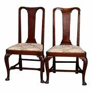 Antique Pair Of Queen Anne New England Carved Mahogany Side Chairs, Circa 1760