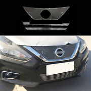 For Nissan Altima Teana 2016-2018 Silver Front Bumper Center Hood Grill Mesh 2pc
