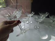 6 Tall Champagne Sherbet Glasses 4-5/8 Gorham Cherrywood Clear Crystal S2