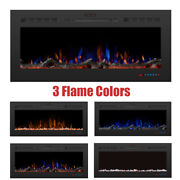 50'' Embedded Electric Fireplace Insert Heater Glass View 3 Log Flame Colors New