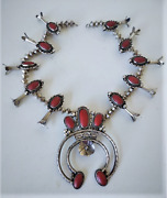 Vintage Old Pawn Sterling Silver Coral Squash Blossom Necklace 4 Repair Or Parts