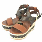 Louis Vuitton Wedge Sandals 1a63w8 20ss Brown Wood Women 's Secondhand No.1658