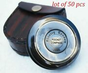 Brass Compass Pocket Compass With Leather Case Vintage Lot Of 50 Pcs