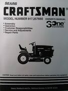Sears Craftsman 15.5 H.p Hydro 42 Lawn Tractor Owner And Parts Manual 917.257660