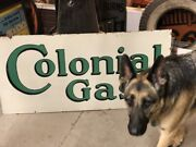 Lqqk Original Vintage Colonial Gas Double Sided Porcelain Sign Oil Old Station
