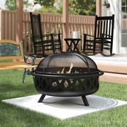 Steel Wood Burning Outdoor Fire Pit - Portable Fire Place For Deck Patio