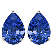 Sapphire Butterfly Solitaire Stud Earrings 10k White Gold