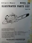 Mcculloch 250 Chain Saw Parts Manual Chainsaw Gasoline Engine 2-cycle 1965