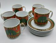 Rosenthal Versace Marco Polo Set Of 6 Espresso Cups And Saucers S0064