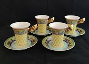 Rosenthal Versace Russian Dream Set Of 4 Coffee Cups And Saucers D0227