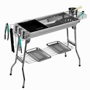 Outdoor Portable Handle Stainless Steel Charcoal Grill Barbecue Cooking Grid