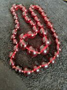 Lovley Marble Cherry Amber Bakelite Graduated Necklace Large Bead 19.4mm 102g