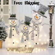 Wrought Iron Flocking Lights Snowman Counter Christmas Decoration Shopping Mall