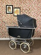 Antique Vintage Rare Baby Pram Carriage Stroller Buggy Blue And Chrome