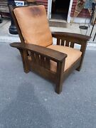 Stickley Morris Wood Arts And Crafts Mission Oak Chair Signed