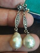 Antique 10 K Gold And Sterling Silver Diamond Baroque Pearl Dangle Drop Earrings